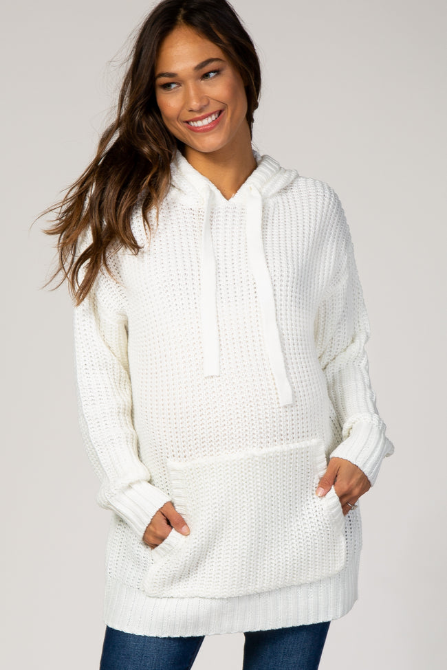 Ivory Hooded Front Pocket Maternity Sweater