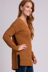 Camel Popcorn Knit V-Neck Sweater