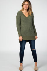 Olive Popcorn Knit V-Neck Sweater