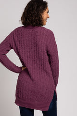 Purple Popcorn Knit V-Neck Sweater