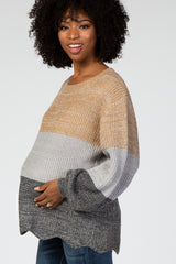 Silver Long Sleeve Knit Color Block Maternity Sweater