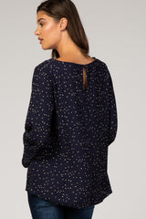 Navy Star Print Long Sleeve Top