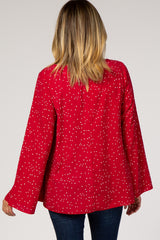 Red Star Print Long Sleeve Top