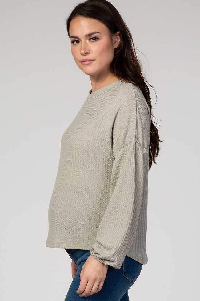 Taupe Waffle Knit Puff Sleeve Maternity Top