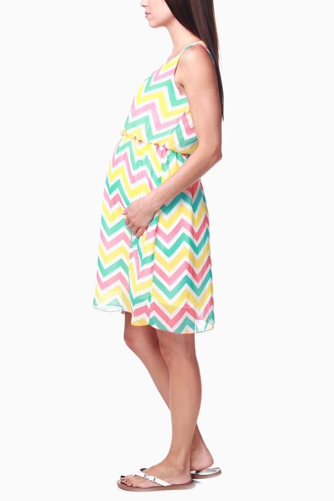 Mint Green Yellow Orange Chevron Chiffon Maternity Dress