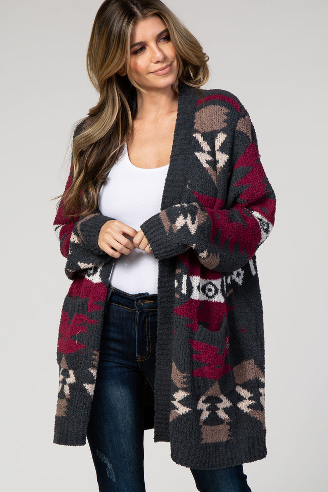 Forest Green Printed Knit Cardigan
