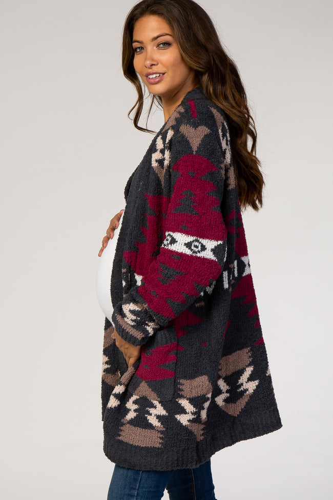 Forest Green Printed Knit Maternity Cardigan