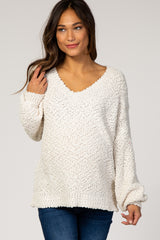 Cream Popcorn Knit Puff Sleeve Maternity Sweater