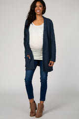 Teal Popcorn Knit Maternity Cardigan