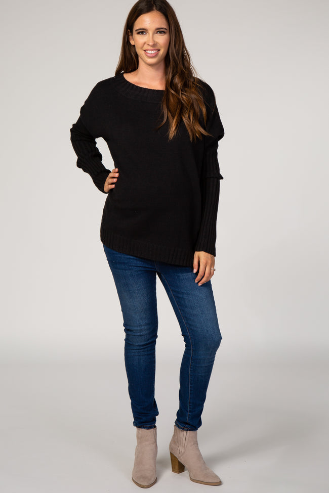 Black Wide Neck Drop Shoulder Maternity Sweater