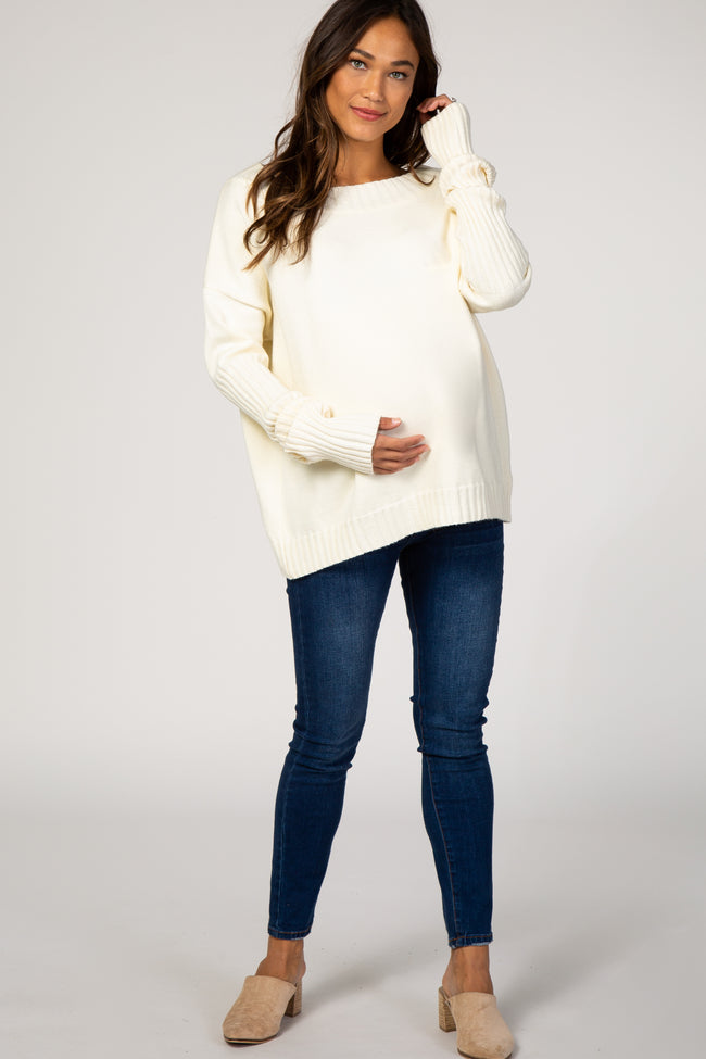 Ivory Wide Neck Drop Shoulder Maternity Sweater