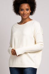 Ivory Wide Neck Drop Shoulder Sweater