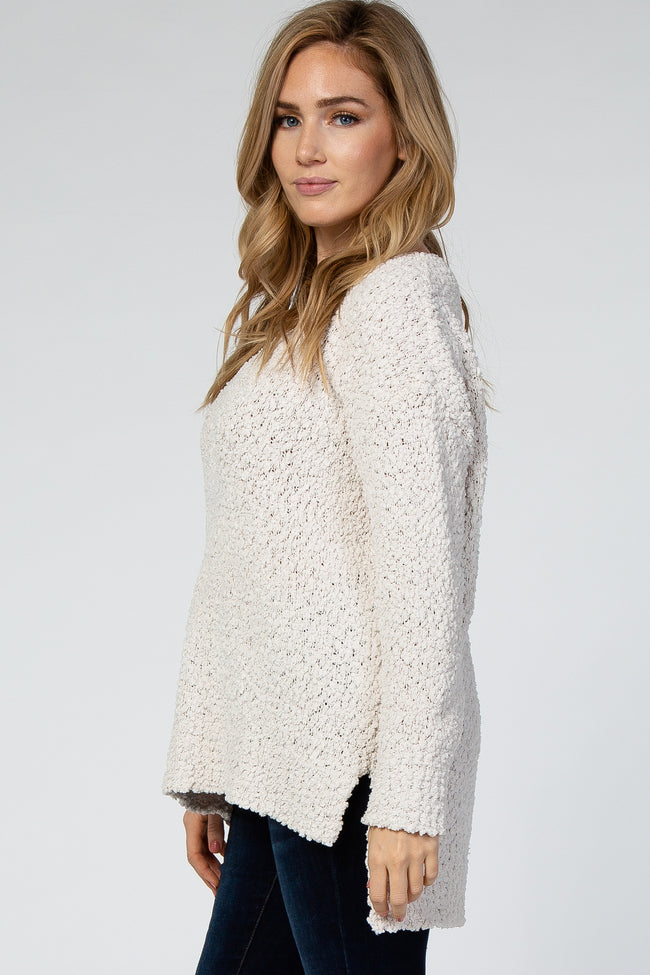 Ivory V-Neck Hi-Low Popcorn Knit Sweater
