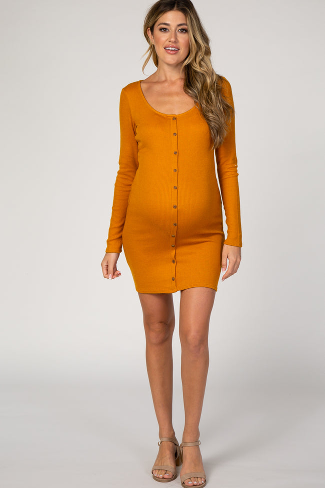 Mustard Ribbed Button Front Long Sleeve Fitted Maternity Dress