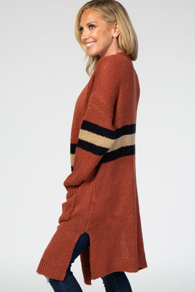 Rust Colorblock Stripe Cardigan