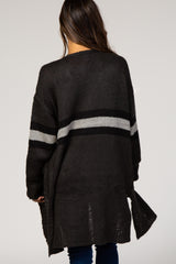 Charcoal Colorblock Stripe Maternity Cardigan
