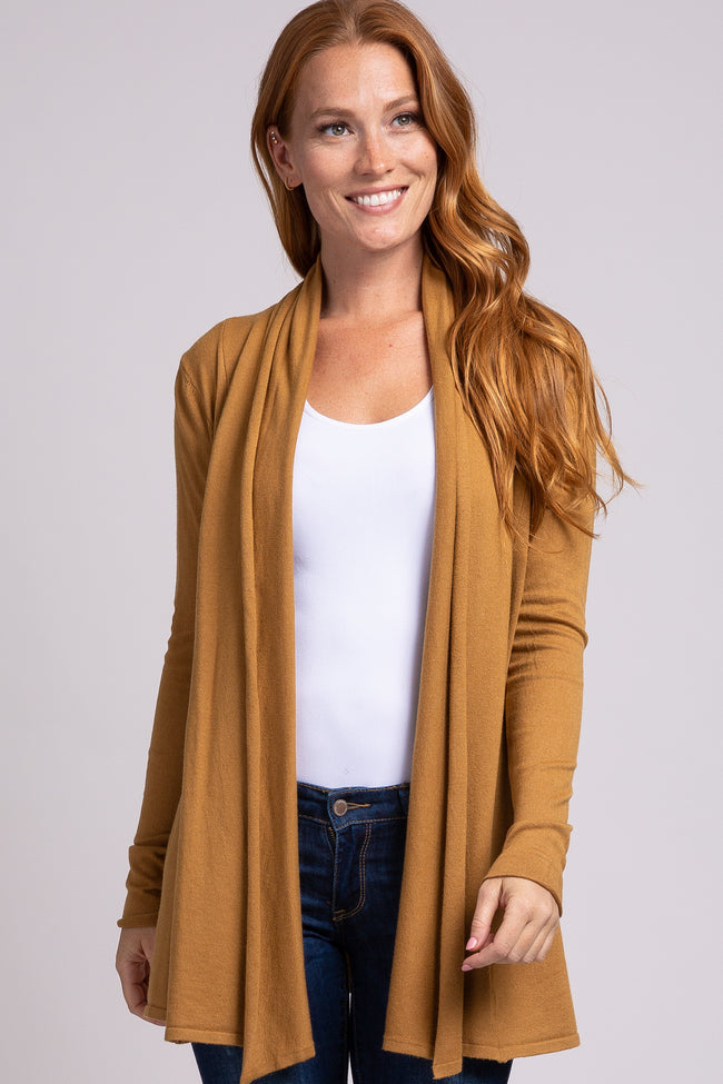 Yellow Open Front Draped Maternity Cardigan