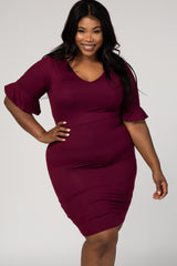 Burgundy Fitted 3/4 Flutter Sleeve V-Neck Plus Dress