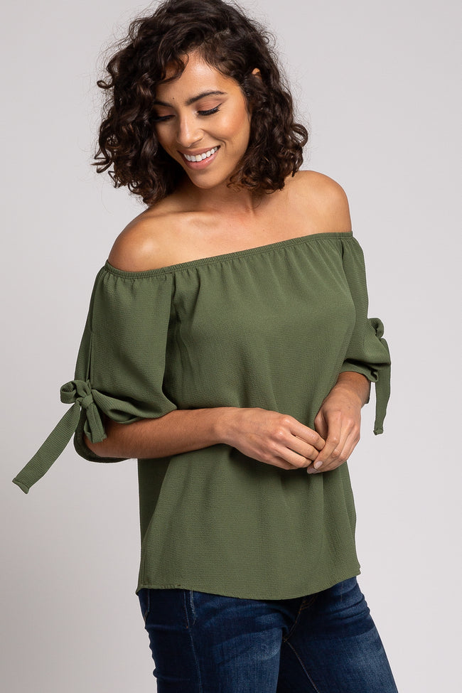 Olive Off Shoulder Tie Sleeve Top
