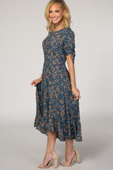 Blue Floral Ruffle Hi Low Tie Sleeve Midi Dress