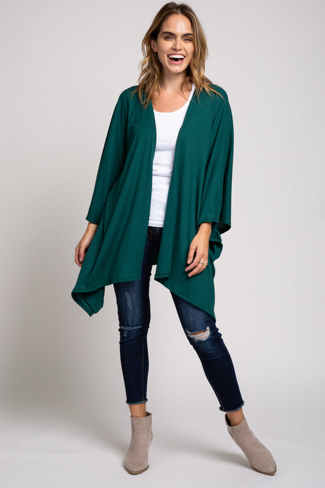 Forest Green Ribbed Knit Cardigan