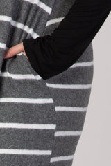 Black Striped Knit Skirt Long Sleeve Round Neck Plus Maxi Dress