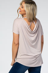 Beige Draped Cut Out Back Hi-Low Short Sleeve Maternity Top