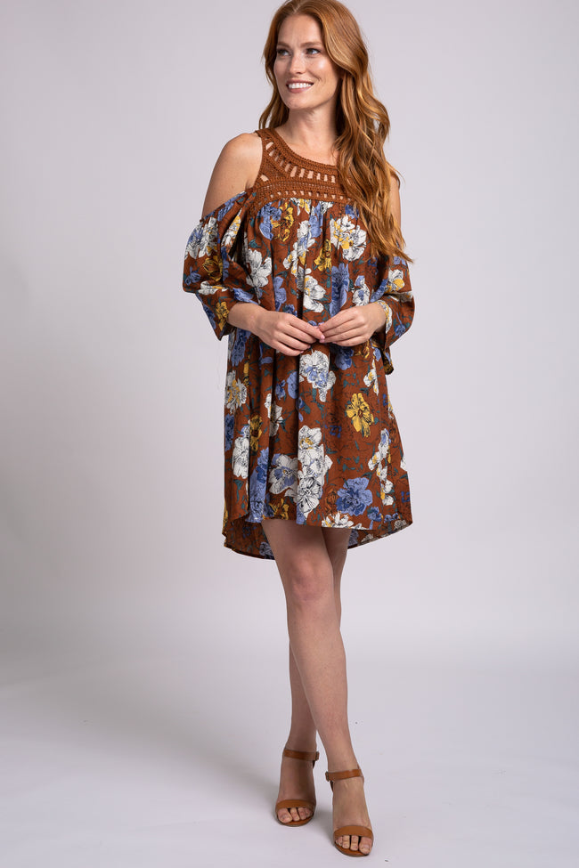 Brown Floral Crochet Cold Shoulder 3/4 Sleeve Hi-Low Dress