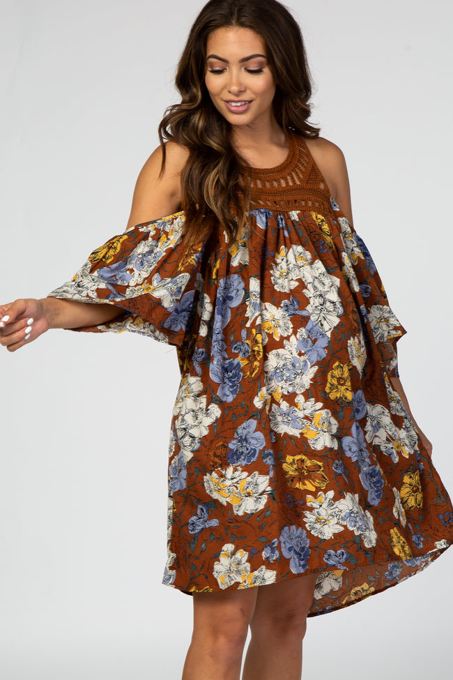 Brown Floral Crochet Cold Shoulder 3/4 Sleeve Hi Low Maternity Dress