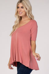 Mauve Ladder Back Short Sleeve Top