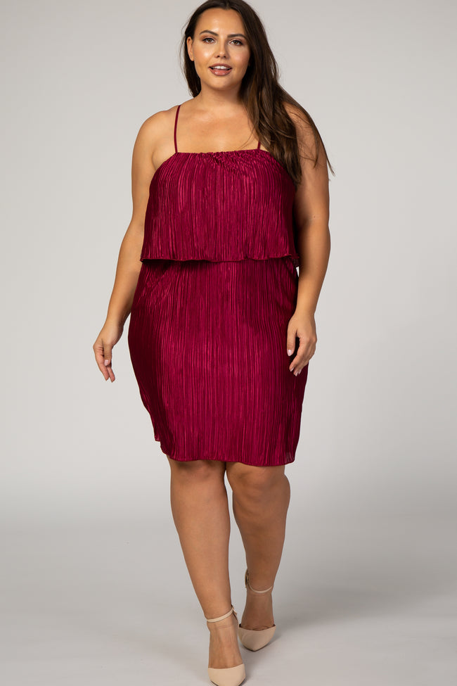 Burgundy Pleated Layered Plus Maternity Dress