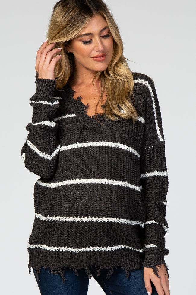 Charcoal Striped Distressed V-Neck Maternity Sweater
