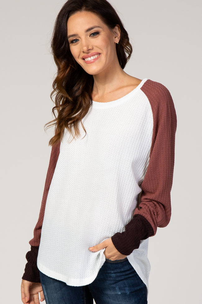 Ivory Colorblock Dolman Sleeve Thermal Maternity Top