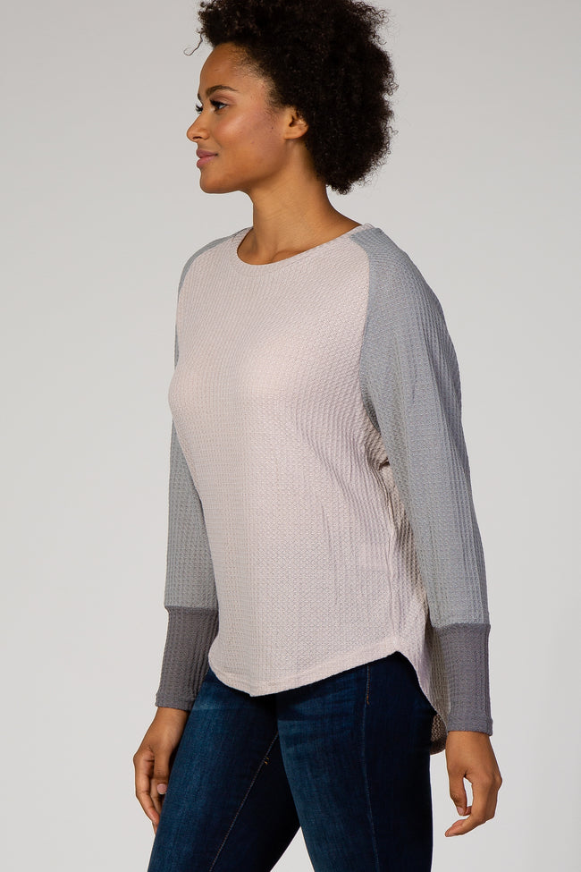 Grey Colorblock Dolman Sleeve Thermal Top