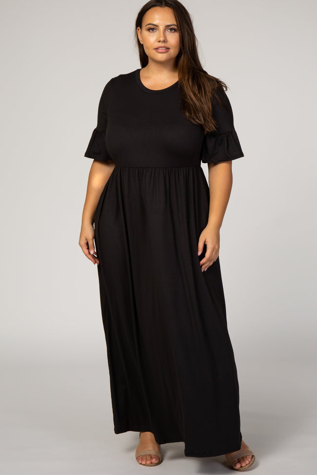Black Ruffle Short Sleeve Maternity Plus Maxi Dress