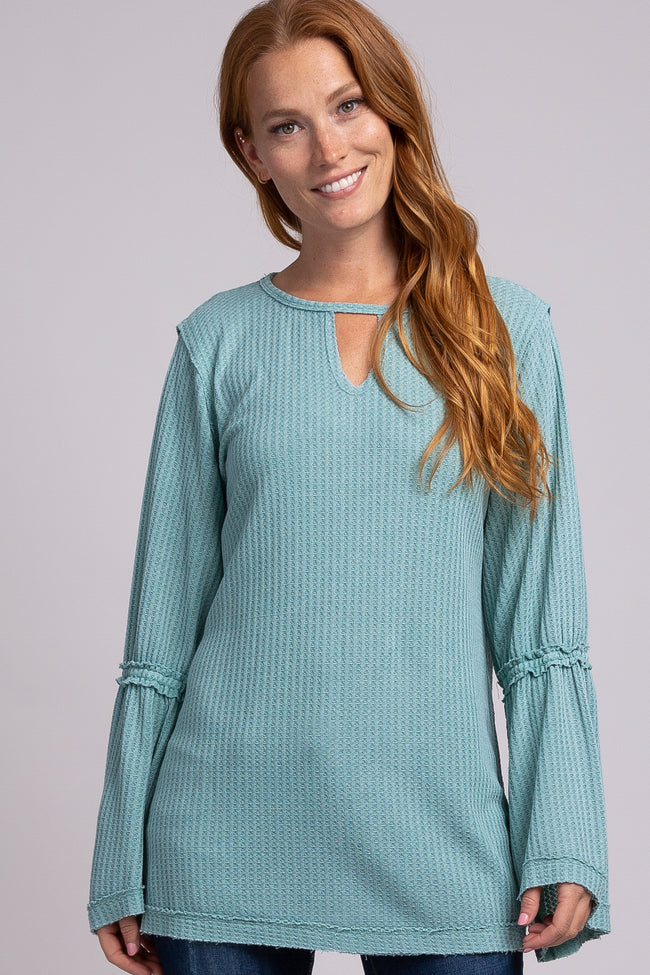 Mint Green Long Bell Sleeve Waffle Knit Keyhole Cutout Maternity Top