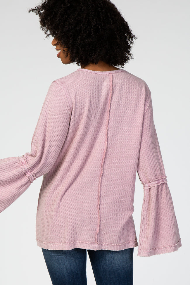 Lavender Long Bell Sleeve Waffle Knit Keyhole Cutout Maternity Top