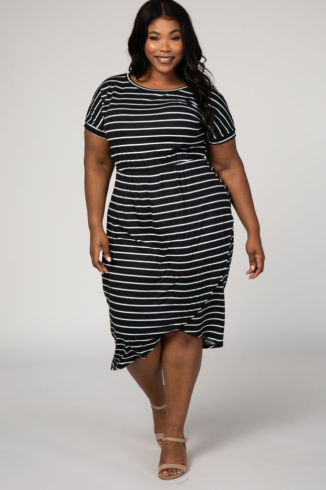 Black Striped Hi-Low Plus Midi Dress