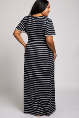 Black Striped Crochet Trim Maternity Plus Maxi Dress