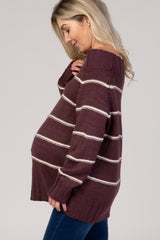 Plum Striped Off Shoulder Long Sleeve Knit Maternity Sweater