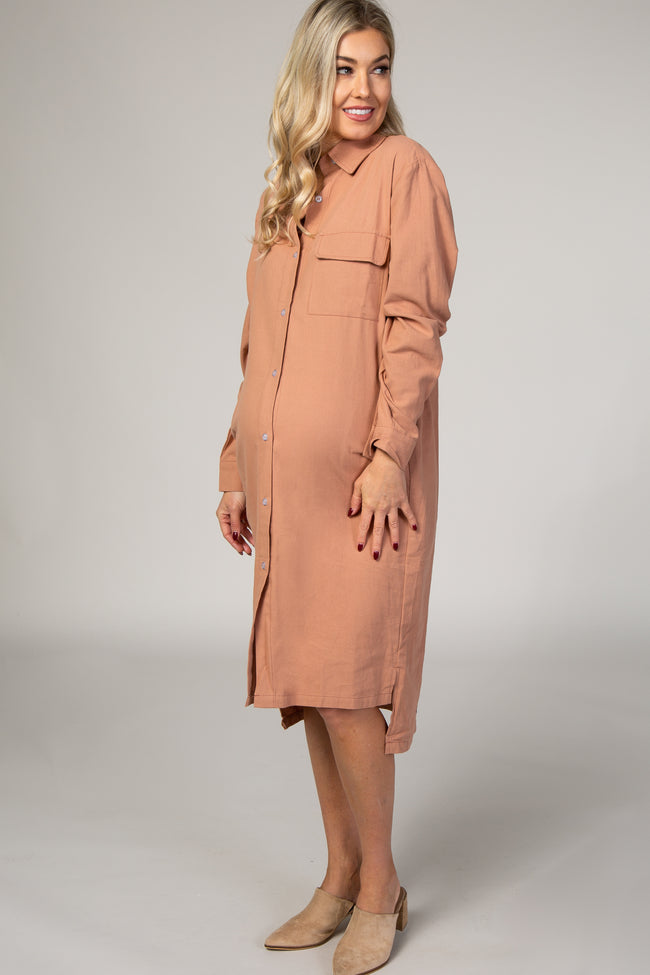 Mauve Button Down Long Sleeve Collared Hi-Low Maternity Shirt Dress