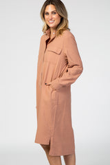 Mauve Button Down Long Sleeve Collared Hi Low Shirt Dress