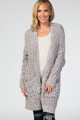 Heather Grey Ribbed Popcorn Knit Maternity Cardigan