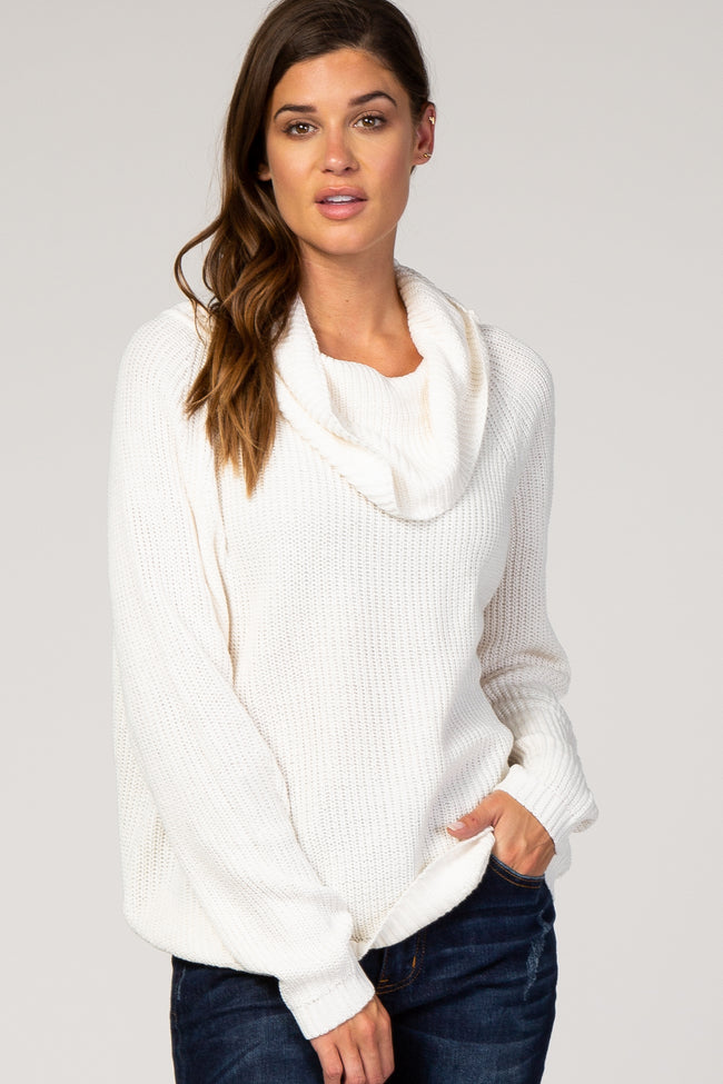 Ivory Cowl Neck Knit Sweater