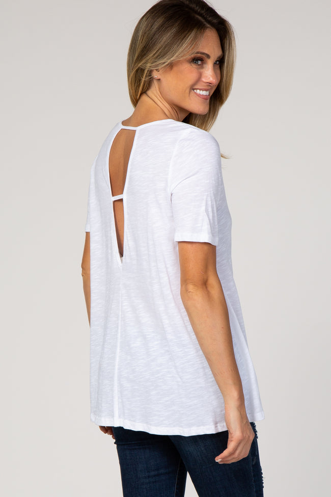 White Ladder Back Short Sleeve Top
