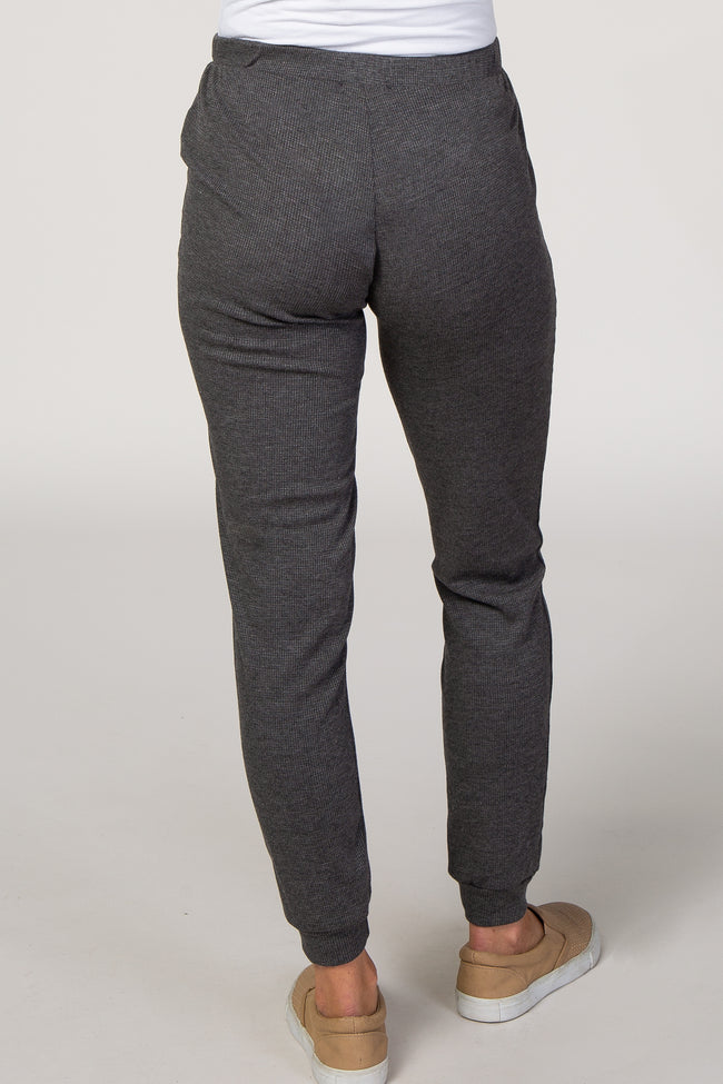 Charcoal Waffle Knit Tapered Maternity Joggers