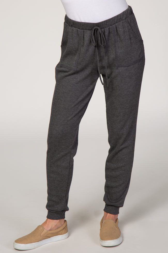 Charcoal Waffle Knit Tapered Joggers