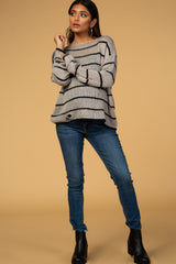 Waverleigh Grey Striped Knit Distressed Cropped Maternity Sweater