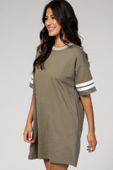 Olive Athletic Style T-Shirt Dress