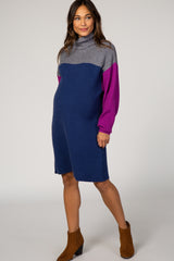 Navy Colorblock Turtleneck Maternity Sweater Dress